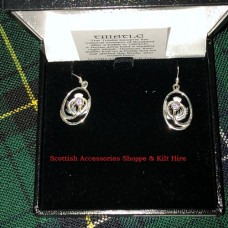 Thistle Drop Earrings with stone