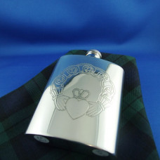 Hip Flask Stamped Claddagh