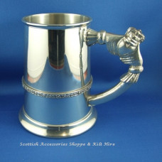 Pewter Tankard Celtic Band & Claddagh Handle