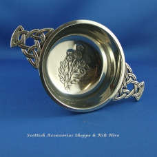 "Pewter Quaich 2.5"" Thistle Design"
