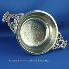 "Pewter Quaich 3"" Celtic Pattern"